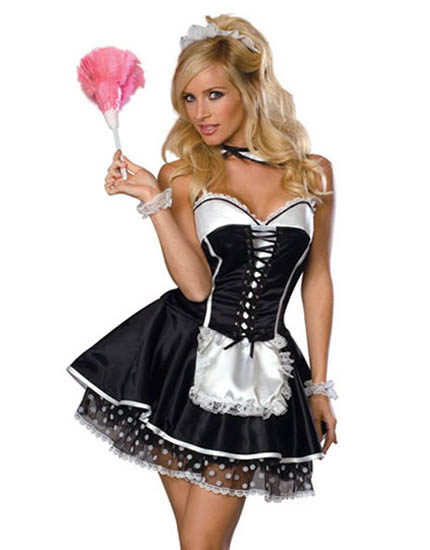 F1058_Taffeta-like French Maid Dress with Polka Dot Lace Underskirt$291_P_1382771597844
